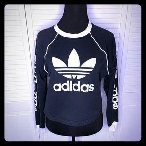 Adidas sweatshirt crew neck long crop EUC